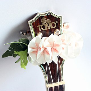ribbon lei for ukulele (wp plumeria) / ukulele strap / ukulele ribbon /
