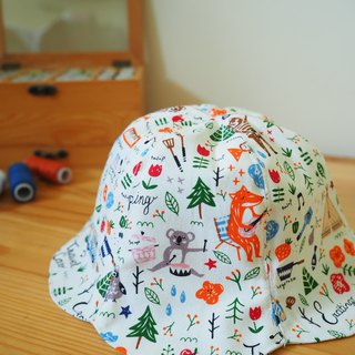 Handmade reversible Hat Animal picnic Blue pattern