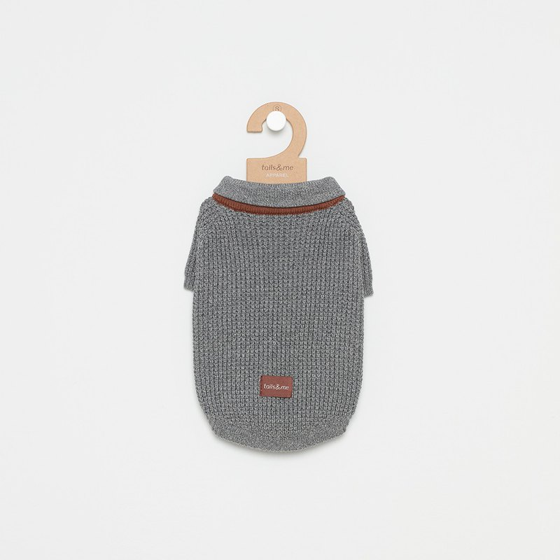 [Tail and me] pet clothes scarf collar sweater dark gray