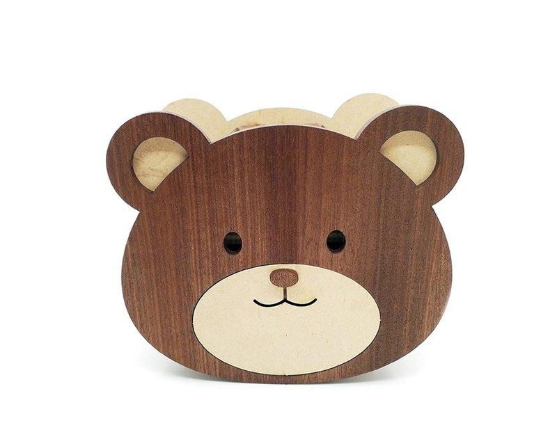 存錢筒(熊會存) DIY 原木貼皮拼板 居家生活 禮物