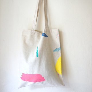 Yinke moon, streams, puppies white cotton and linen with the bag in stock