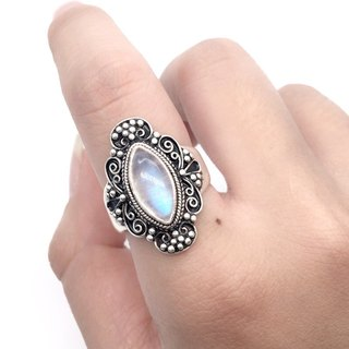 Moonlight stone 925 sterling silver industry exotic lace ring Nepal handmade mosaic production