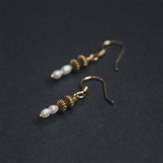 Freshwater Pearl Threaded Brass Earrings - Can Change Ear Clips