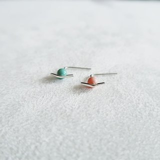 4mm round beads/Red and green/Planet universe/Earrings/Sterling Silver/By hand【ZHÀO】SZE1787