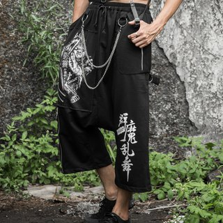 Evil chameleon chain punk dark flying black squirrel pants black