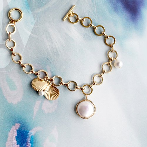 MissQueeny Ocean Legend Golden Shell Goddess Natural Pearl Bracelet
