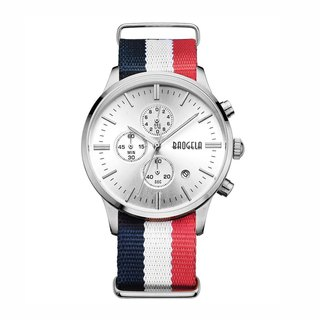 BAOGELA - VENICE Silver Dial / Blue White Red NATO Watch