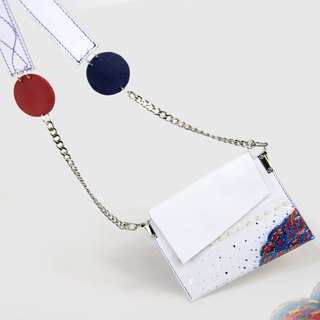 Ostrich series[山山]Creative Hand-painted Leather Transparent Laser Narrow Shoulder Messenger Hand Envelope Bag