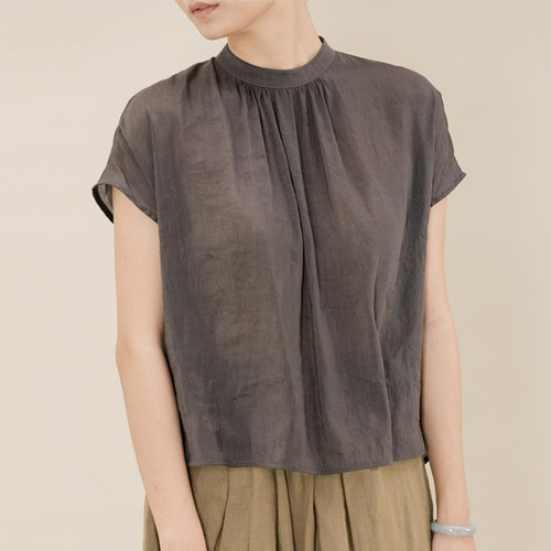 BUFU silk-linen  non-sleeves top / dark grey SH170526GR