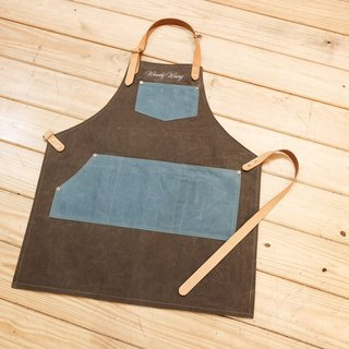 Apron custom work apron waterproof double layer wax / red buckle / leather can be embroidered printing