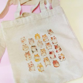 A4 straight portable diagonal back dual-use canvas bag - hamster models (small amount of no brush)