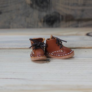 【Yingchuan handmade small mini shoes strap / Martin shoes / keychain / DIY material package (cut pieces are perforated) PKIT SH001 hand-stitched leather bag - reddish brown