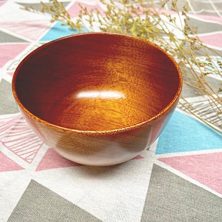 Log wood for rice bowl - natural lacquer