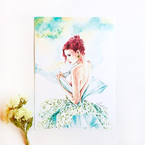 Fashion Illustration Postcard | Muse Green