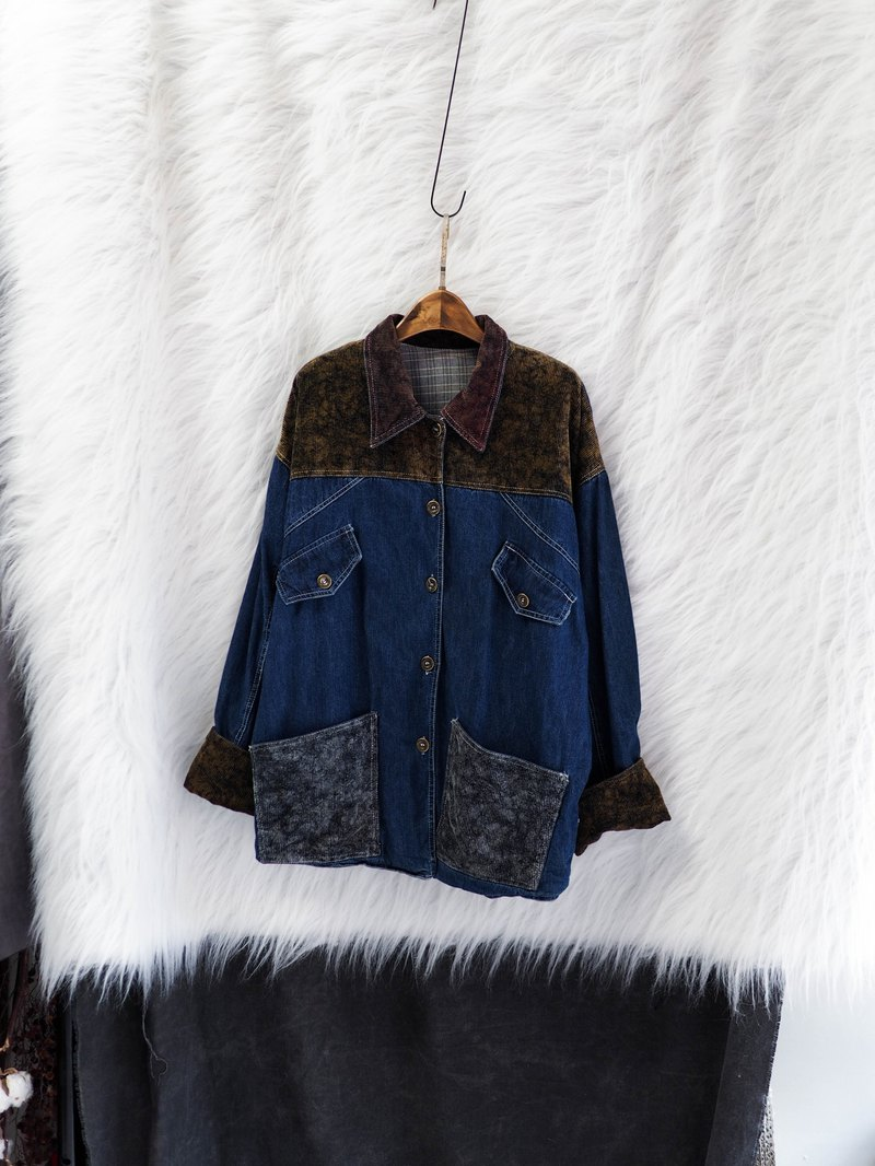 cace0a61c2f56 Sea blue flip sleeves love spring day and antique cotton denim tannin x  corduroy buckle jacket vintage - Designer river3water   Pinkoi