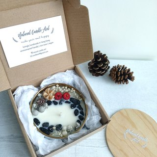 Christmas Special White Marble bowl | Dried flower Crystal Natural Soywax Candle