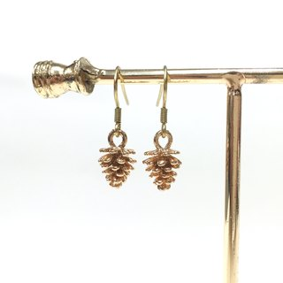 [If] [story] Sang pineal earrings. Gold plated brass earrings / ear hook / ear clip
