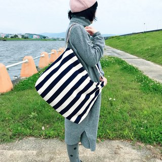 Shop cotton large shoulder bag side backpack Messenger bag large capacity limited edition splash-proof blue and white