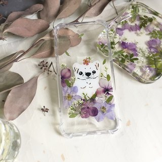Law fighting and flower hand-painted puppy pressed flower phone case