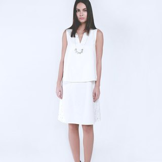 mystatice - Cultural Sleeveless White Dress with white hand-weave belT
