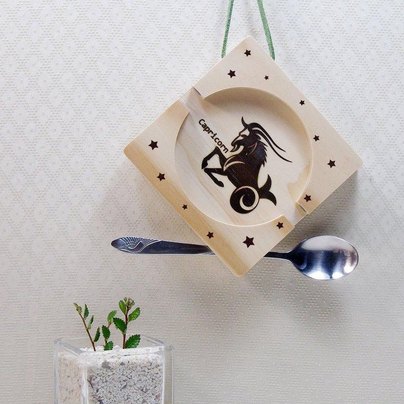 摩羯座 Capricorn 木材 止滑矽膠 手機座杯墊 免費刻印 名字 祝福