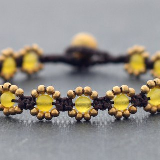 Lemon Yellow Jade Beaded Woven Flower Bracelets, Macrame Brass Stone Braided Bracelets