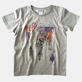 World Map Flag Print T-shirt - Heather Gray - women's / men's / unisex