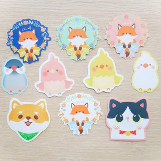 Cute animals big collection / ChiaBB snow floe waterproof illustration sticker