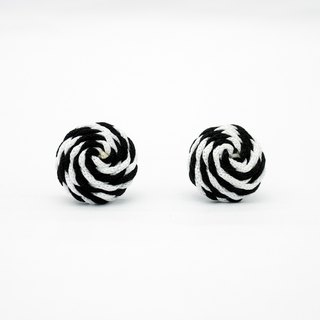 Circle dot Black and White Whirl Stainless Steel Earrings Earrings Earrings 181