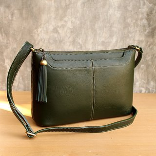Cross Body Bag - Crackers - Green (Genuine Cow Leather) / 皮 包 / Leather Bag