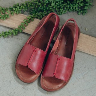 Bar rest handmade wide leather sandals - Burgundy red
