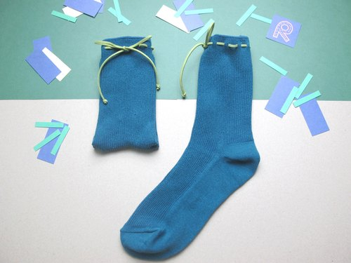 II Socks / green paper money tying Socks / peacock blue / customized orders