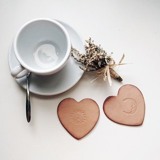 Heart-shaped leather coaster / Valentine's Day series (two sets)