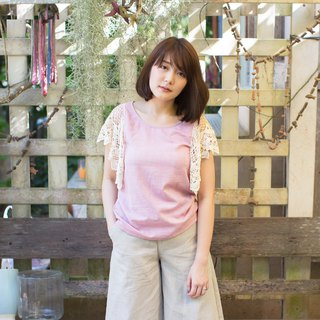 Pink Round Neck Lace Sleeve Blouse Botanical Dyed Cotton