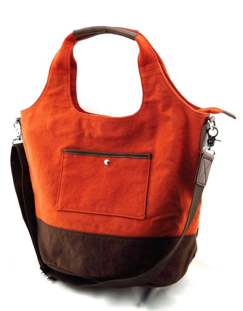 Canvas 2 with a bag (even detachable shoulder strap) - brown