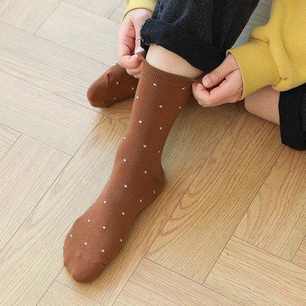 女生的 中筒襪 03.棕色點點