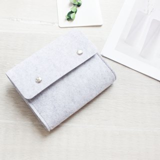 【Customizable】 Original handmade light gray felt Loose belt Camera bag Mouse bag Mouse bag Power cord bag Charger bag Charger Storage bag 3C Peripheral storage package Transmission line storage package (can be tailored) - 123