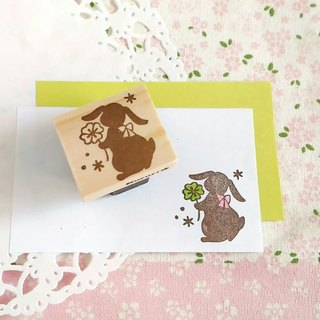 Rop year rabbit and clover eraser stamp * Stamp (saggy ear, four leaves, ribbon)