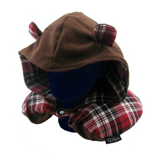Bear memory foam neck pillow plaid hooded