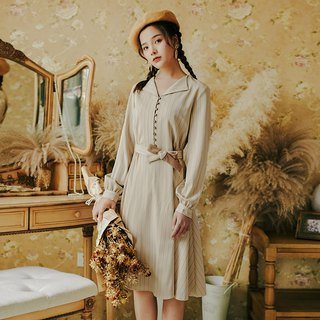 Early autumn clothing new 2018 centuries retro fashion single-breasted striped dress dress