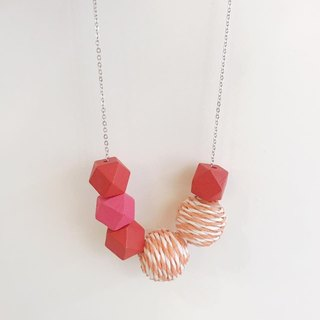 Orange Red Pink Wooden Ball Necklace Birthday Gift Bridesmaid Gift