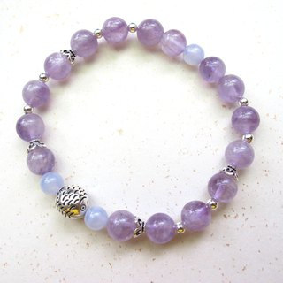 [Turn the fish] Amethyst x Blue Line Agate x 925 Silver - Hand-made natural stone series