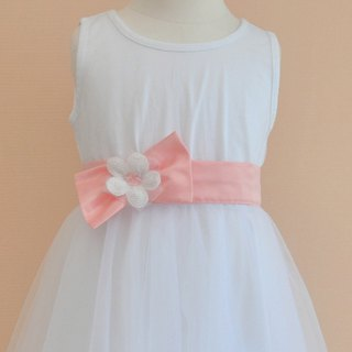 Tutu Studio Accessories _ Peach Satin Flower Belt