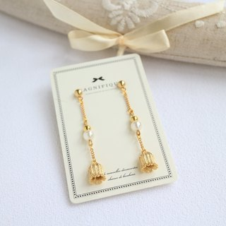 18kgf flower petal pearl long earrings