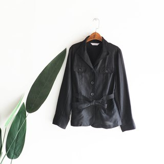 Saga 黯 black classic literary simple girl antique hemp texture jacket coat oversize