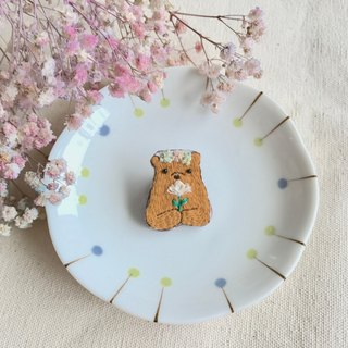 Hand embroidery * forest bear dedicated to your flower pins