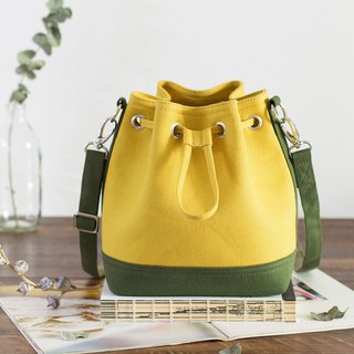 Canvas bucket bag small contrast color 3 color optional cross-body bag side backpack Christmas exchange gift
