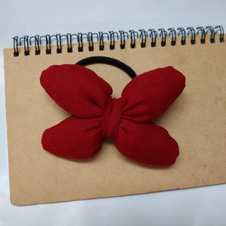 Brick Red Q Cotton Butterfly Hair Tie Hair Ring*SK*