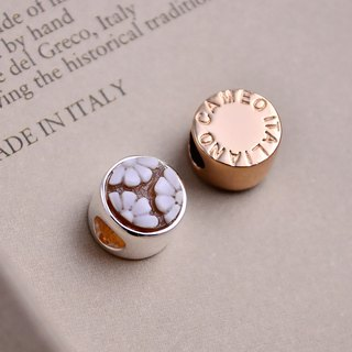 Italian handmade shell carving light jewel - beaded round (silver / rose gold) - CH802