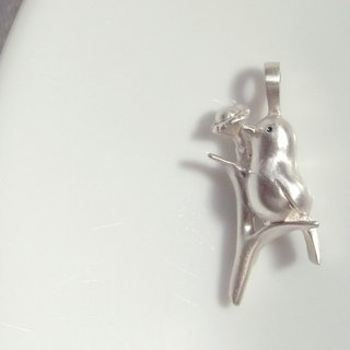 Bird Singing On the Flower--Sterling Silver Bird And Flower--- Pendant  Necklace